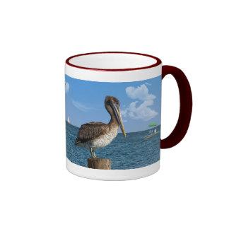 Brown Pelican on a Post Ringer Mug