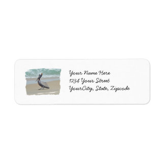 Brown Pelican on Beach Label