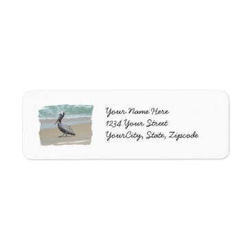 Beach Themed Brown Pelican on Beach Label