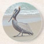 Brown Pelican on Beach Sandstone Coaster