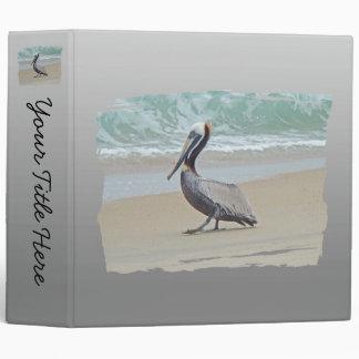 Brown Pelican on Beach Vinyl Binders