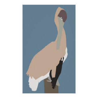 Brown Pelican on post poster
