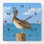 Brown Pelican on Post Square Wall Clocks
