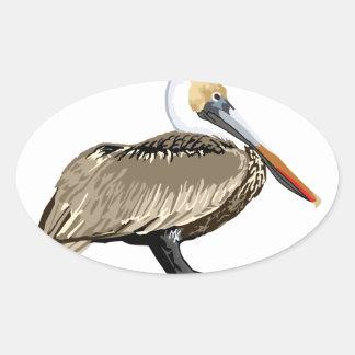 Brown Pelican Oval Sticker