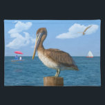 "Brown Pelican Perched at Ocean Placemat<br><div class=""desc"">This Brown Pelican with the ocean in the background complete with boats and gulls makes a lovely placemat.</div>"