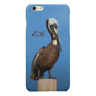 Brown Pelican Perching on a Post, Monogram Glossy iPhone 6 Plus Case