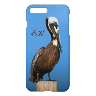 Brown Pelican Perching on a Post, Monogram iPhone 8 Plus/7 Plus Case