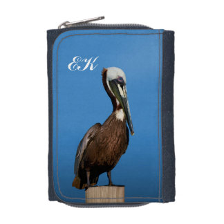Brown Pelican Perching on a Post Wallets