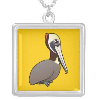 Brown Pelican Square Pendant Necklace