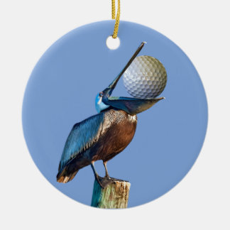 Brown Pelican with Golf Ball Ceramic Ornament