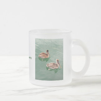 Brown Pelicans Frosted Glass Coffee Mug