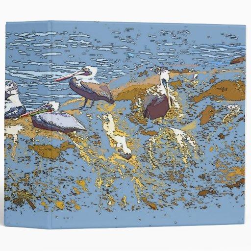Brown Pelicans & Jetty Art Avery Binder