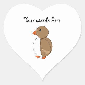 Brown penguin heart sticker