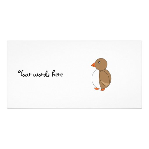 Brown penguin photo card