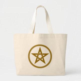 brown pentacle large tote bag