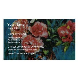 Brown Peonies in a Vase, Auguste Renoir flowers Double-Sided Standard Business Cards (Pack Of 100)