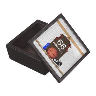 Brown personalizado y jersey rojo del baloncesto caja de recuerdo de calidad