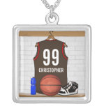 Brown personalizado y jersey rojo del baloncesto colgante cuadrado