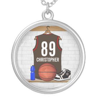 Brown personalizado y jersey rojo del baloncesto collar plateado