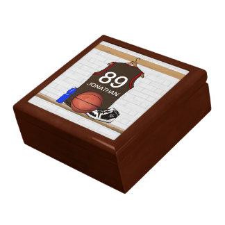 Brown personalizado y jersey rojo del baloncesto joyero cuadrado grande