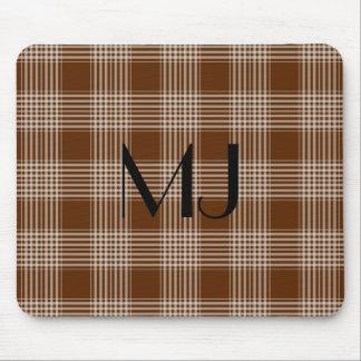 Brown personalizado y modelo blanco del tartán de mousepads