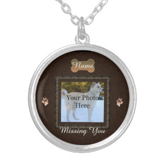 Brown Personalized Dog or Cat Memorial Silver Plated Necklace