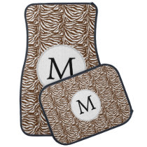 Brown Personalized Monogram zebra stripes Car Floor Mat