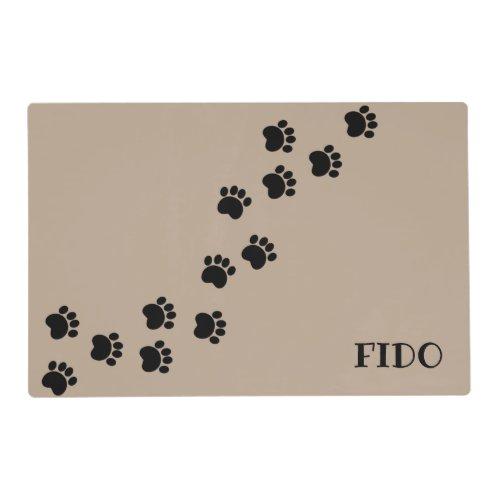 Brown Pet dog paw path w name Placemat