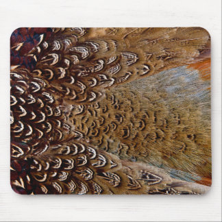Brown Pheasant Feather Design Mouse Pad