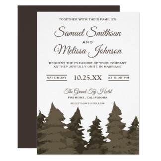 Brown Pine Trees Forest Wedding Invitation