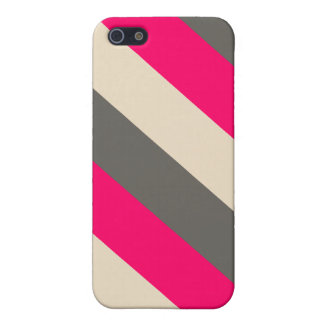 Brown, Pink and Cream Striped Case For iPhone SE/5/5s