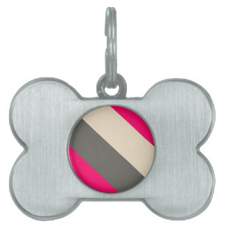Brown, Pink and Cream Striped Pet Tag