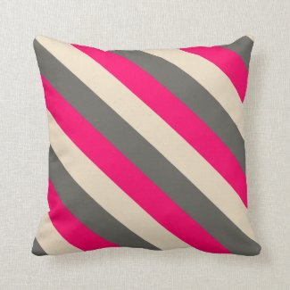 Brown, Pink and Cream Striped Throw Pillow