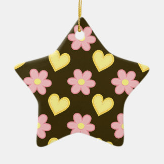 Brown, Pink, and Yellow Stitched Hearts & Flowers Double-Sided Star Ceramic Christmas Ornament