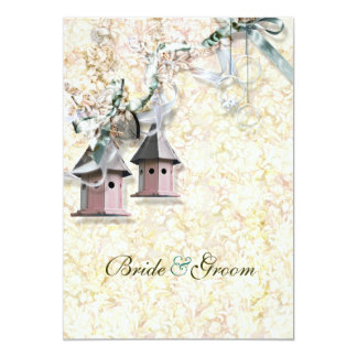 Brown pink bird floral country card