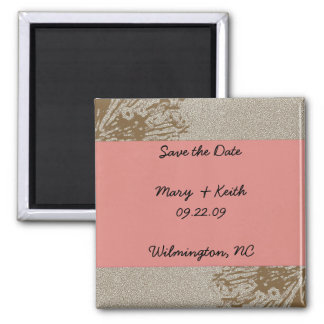 Brown & Pink Blossom Save the Date Refrigerator Magnet
