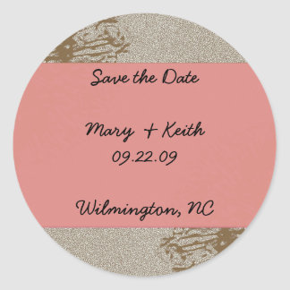 Brown & Pink Blossom Save the Date Round Stickers