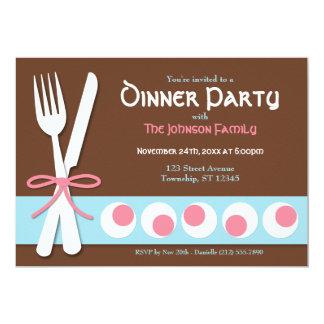 "Brown Pink & Blue - Fork & Knife Dinner Invitation 5"" X 7"" Invitation Card"