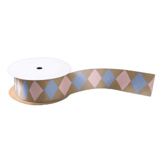 Brown Pink Blue Spring Argyle Satin Ribbon