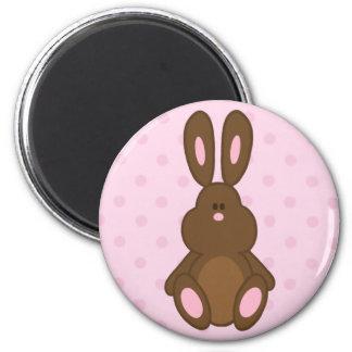 Brown & Pink Bunny Polka Dots Magnet