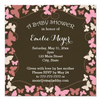 Brown Pink Butterflies Baby Shower Invitation