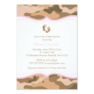 Brown & Pink Camouflage Baby Shower Invitation