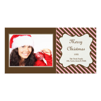 Brown pink candy stripe Christmas holiday greeting Card
