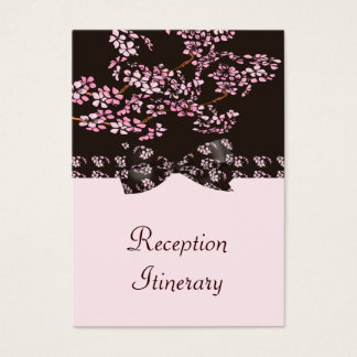 Brown & Pink Cherry Blossom Tree Wedding Business Card