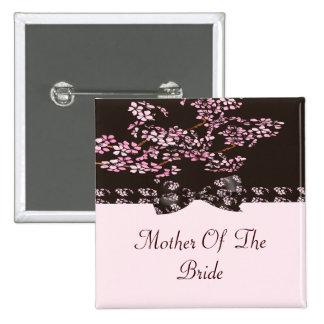 Brown & Pink Cherry Blossom Tree Wedding Button