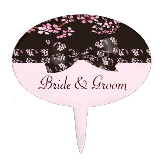 Brown & Pink Cherry Blossom Tree Wedding Cake Topper