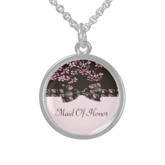 Brown & Pink Cherry Blossom Tree Wedding Sterling Silver Necklace