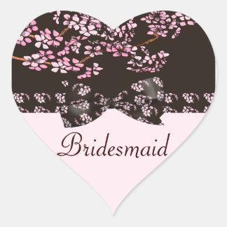 Brown & Pink Cherry Blossom Tree Wedding Heart Sticker