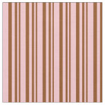 [ Thumbnail: Brown & Pink Colored Lined/Striped Pattern Fabric ]