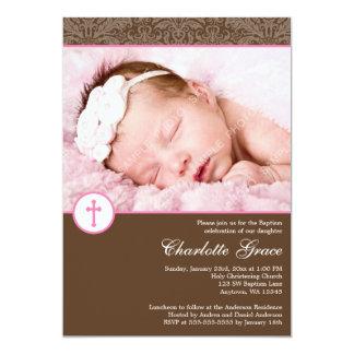 Brown Pink Damask Cross Girl Photo Baptism Card